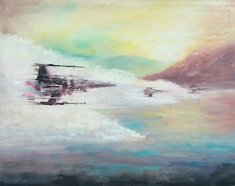Star Wars Themed Art, Original Painting by Naci Caba, Star Wars Painting, Colorful X-Wing Painting on Canvas