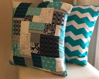 SALE Pillow Cover/ Shabby Chic Pillow Cover/ Blue Patch Work Pillow Cover/ Chevron Pillow Cover Pillow Cover/ 2 Pillow Covers