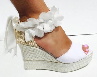 BOHOLUXE Peep Toe Platform Wedge Lace Up Espadrille Boho style Wedding Ibizencas bridal shoes Wedding shoes Custom shoes