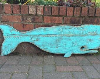 Whale Sign Beach House Decor Turquoise Green Weathered Wood Wooden Whale by CastawaysHall