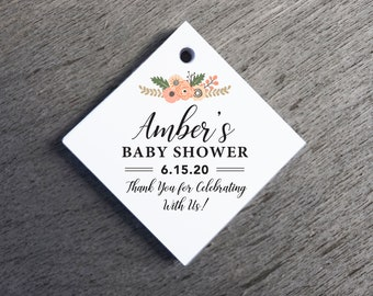 Floral Baby Shower Tags Thank You Tags Die-cut Paper Hang Tags Custom Gift Tags Baby Shower Gift Tags Baby Shower Favor Tags Welcome Tags