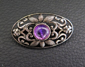 Vintage Sterling Silver Arts And Crafts Style Brooch With Amethyst Stone