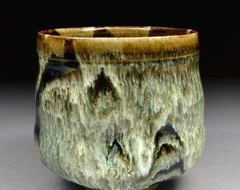Handmade Tenmoku and Nuka Glazed Yunomi Tea Cup with Unique One of a Kind Glaze finish.