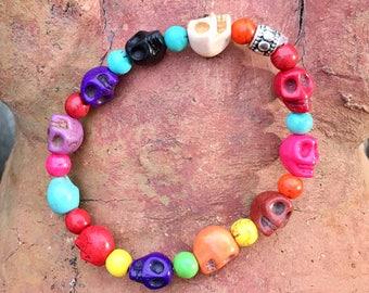 Skull Bracelet Multi Colored Stretchy Howlite Beaded, Sugar Skull, Day of the Dead, Howlite Round Beads