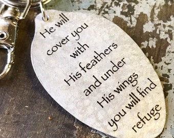 Psalm 91:4 - Scripture Gift - He Will Cover You with His Feathers and Under His Wings You Will Find Refuge Spoon Keychain -Inspiring Jewelry