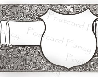 Art Nouveau Decorative Black and White Border Frame, Instant DIGITAL Download, Printable Vintage Postcard, Add Photo or Text