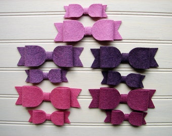 Wool Felt Bows - Vineyard Collection Bows - Set of 10 or Set of 20