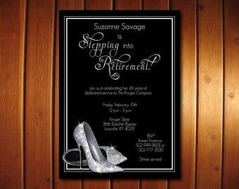 Silver Glitter Retirement Invitation |  Shoes Retirement Party Invitation