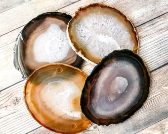 Large Natural Agate Coasters Natural Geode Coasters Set of Four - Earth Tone Brown Agate Slice Crystal Coasters Rock Coasters Stone Coasters