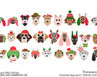 Christmas dog digital clip art part 3 for Personal and Commercial use - INSTANT DOWNLOAD