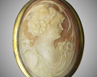 Large Antique Sterling Cameo Brooch or Pendant