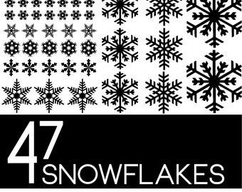 SNOWFLAKE Pack of 47 Decals for the Holidays- Christmas Winter Decorations - For Windows, Door, Cups, Christmas Stickers