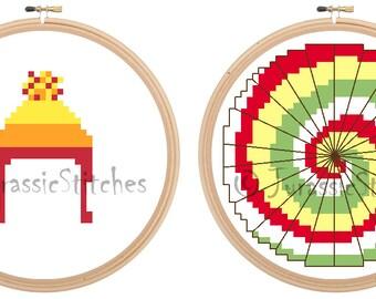 "Tiny Wee Symbols, Firefly inspired Jayne and Kaylee cross stitch 3"" DIGITAL PATTERNS"