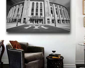 New Yankee Stadium Canvas Print - 36 x 24 Black and White panoramic entry