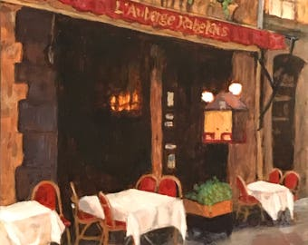 "Acrylic painting, French restaurant on 8""x8"" gessoed panel  (1/8"" thick)"