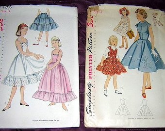 Lot of 5 Vintage SIMPLICITY & McCALL Patterns for girls 8 -12** 50's POODLE SKIRT-Slip-Dresses