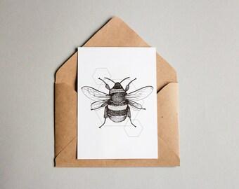Bumblebee print A6 wall art, black and white, dotwork, interior wall art, nature print