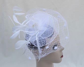 White Bridal Birdcage Fascinator / Wedding Fascinator With Lace, Netting And Feather Trim / Vintage Inspired W