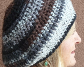 Slouchy winter beanie hat in black, brown and gray, great comfort in this hat, original and unique women's crochet hat, cute ski hat