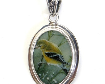 Broken China Jewelry Female American Goldfinch Garden Bird Left Facing Sterling Oval Pendant