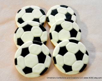 Soccer or Football Hand Decorated Sugar Cookies (#2374)