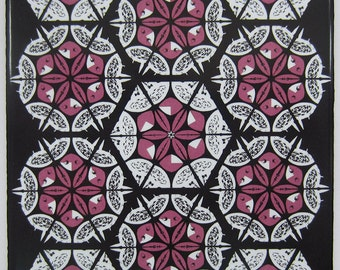 Pink and Black Patchwork Pattern Ceramic Tile Trivet with Cork Backing from Jacqueline Talbot Designs