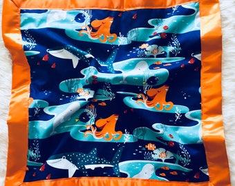 Nemo Satin Edge Lovey with Velvet Backing, Minky, Plush, Security Blanket, Finding Dory, Finding Nemo