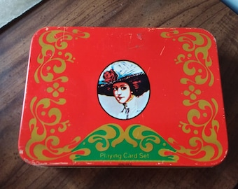 Vintage 1970s Coca Cola Playing Cards Collectible Tin