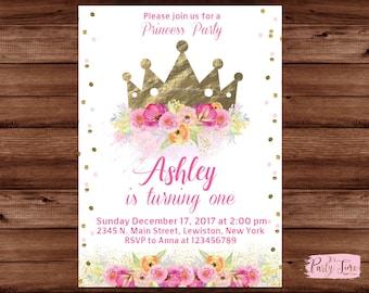 Gold crown invitation - Princess Invitation - Princess birthday invitation - Princess Crown Invitation - Crown invitation - DIGITAL FILE