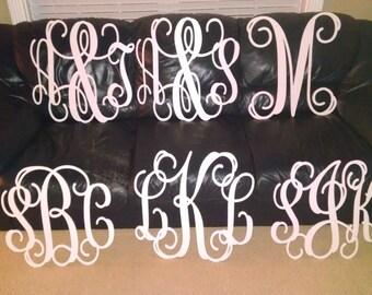 1/4 inch thick  PVC plastic Vine Monogram letters