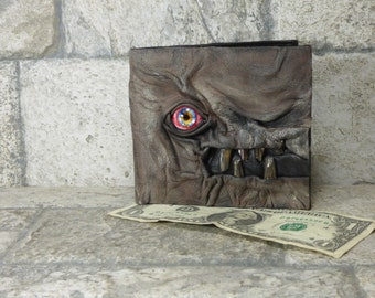 Leather Wallet Zombie Fathers Day Gift Monster Face Fantasy Magic The Gathering Horror World Of Warcraft Black 562