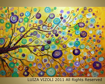 Abstract Original SUN KISSES Modern  Tree Landscape Large Canvas 36x24 by Luiza Vizoli