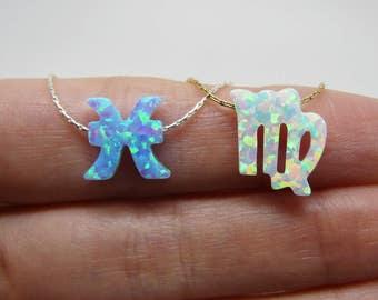 Zodiac jewelry, Zodiac necklace, Astrology necklace, Horoscope necklace, Opal zodiac charm, Zodiac sign necklace