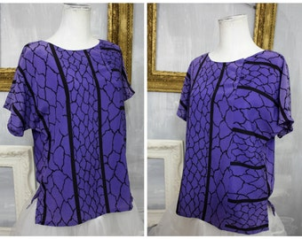 80s Ladies | Purple + Black Abstract Print Poly Silk Blouse by Dorina | Dynasty 1980s | Womens XS|  Made in Hawaii