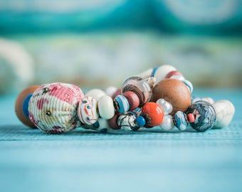 Ivory blue bracelet_coral brown_multistrand_handmade glass_textile ceramic_tribal gypsy Strega_boho bohemian_Frida Kahlo_Mexico bracelet