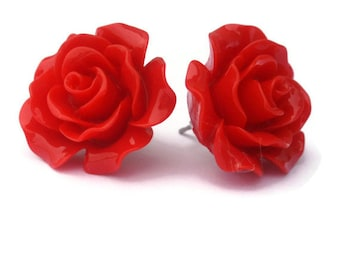 Red Rose Earrings, Large Resin Flower Studs, Vintage Style, Retro, Rockabilly, Pinup, Post, Clip On