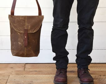 Waxed Canvas Hunter Satchel Spice Waxed Canvas Crossbody Bag Waxed Canvas Bag Purse Travel Bag Fathers Day Gift Husband Personalize Dad Gift