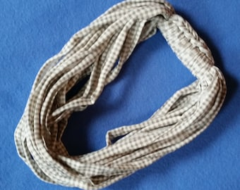 Tan and White Gingham Recycled T-shirt Infinity Scarf Necklace - upcycled tshirt scarf tarn tshirt yarn