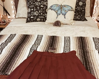 Burgundy Pleated Mini Skirt