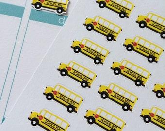 Planner Stickers 32 Buses Day Planner Stickers Fits Erin Condren Planner Plum Paper