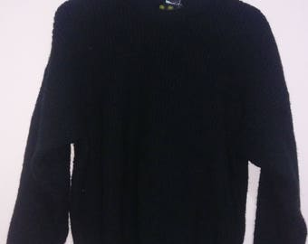 VINTAGE Barbour Black Marl Knit Sweater Knitwear 100% Pure New Wool Knitwear Pullover Made in Scotland