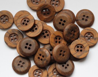 30 Wood Grain Vintage Buttons 4 Hole Raised Edge 19mm New Old Stock Very Stylish High Quality Rochester Button Company