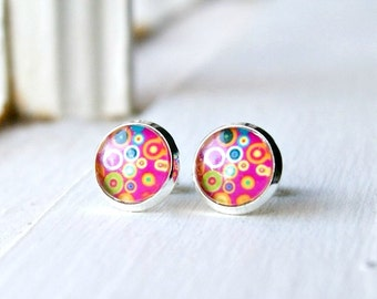 stud earrings, colorful jewelry, post earrings, pink jewelry, gift for her, under 10