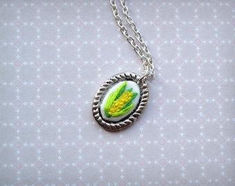 Mini Hand Embroidered Corn Necklace
