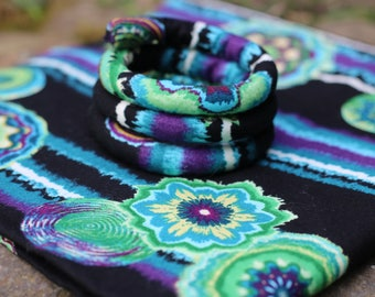 Black and purple 'ice crystals' -  psychedelic Vegan Spiralock. The Original bendable Dreads Tie