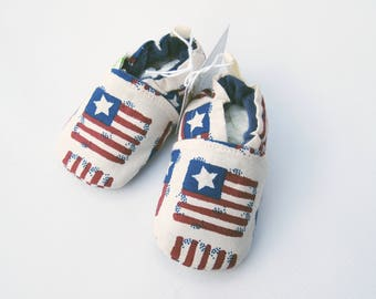 SALE Small Classic Patriotic / All Fabric Soft Sole Baby Shoes / Ready to Ship / Babies