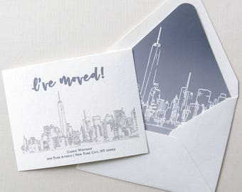 City Moving Announcements - New York City Skyline - Skyline Grey Outline