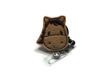 Horse Badge Reel, Animal Lover Badge Reel, Name Tag Holder, Decorated Badge Reel, Feltie Badge Reel