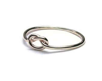 14k gold knot ring tie the knot ring thin gold ring solid 14k gold ring promise ring