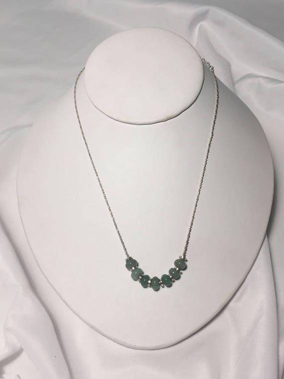 Jade Semi-Precious Stone Rondelles on Fancy Ball Chain Necklace